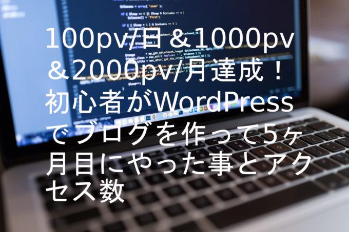100pv/日&1000pv/月達成!初心者がWordPressでブログを作って5ヶ月目にやった事とアクセス数